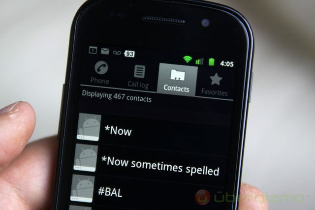 nexus s review, contacts