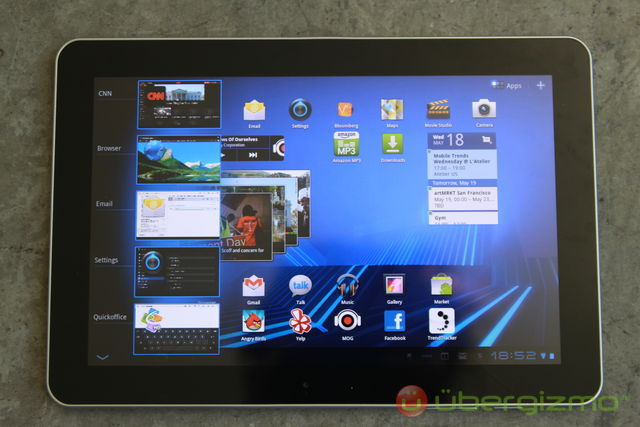 Galaxy Tab 10.1 Recent apps feature