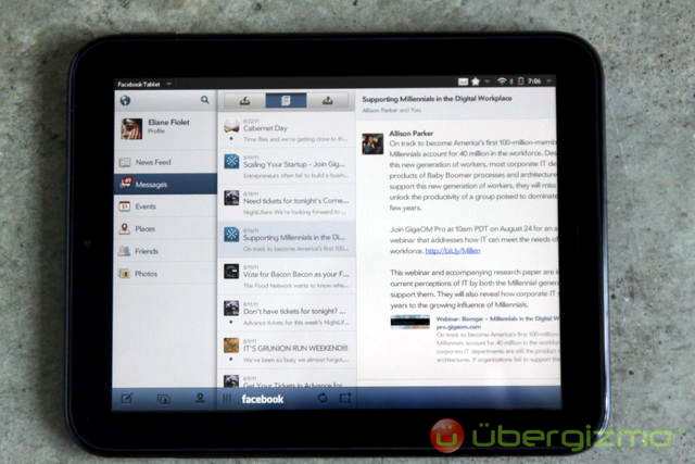 HP TouchPad Facebook
