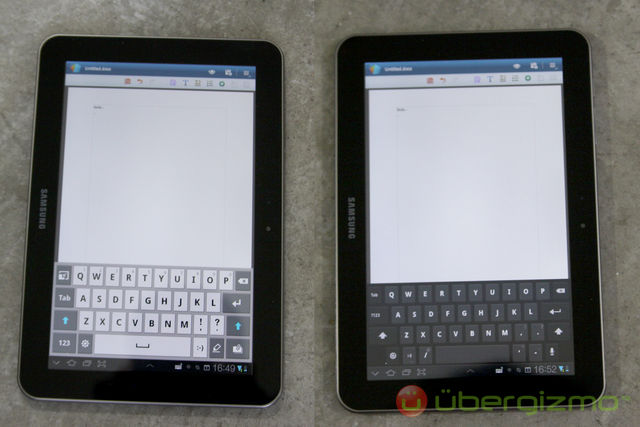 Galaxy Tab 8.9 - Samsung and Android Keyboards
