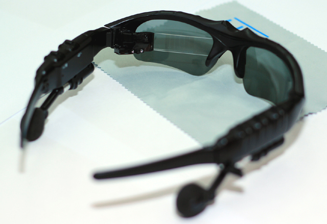 Lumus OE-31 emebedded in existing sunglasses with MP3 Player