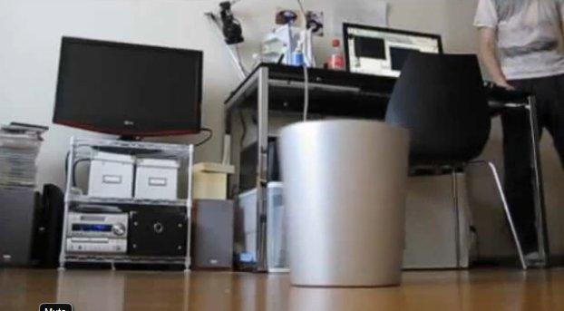 Microsoft Kinect Powered Trash Can Moves Around To Catch