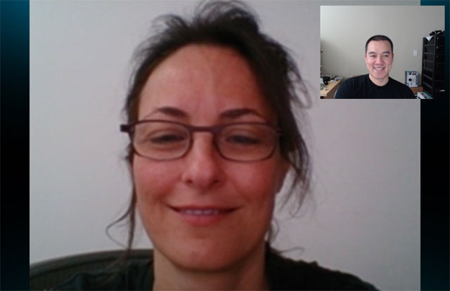 Seen from Skype PC: Eliane is calling from the Xperia Tablet Z