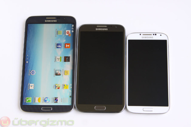 The Note 3 would land somewhere in between the Mega 6.3 (left) and the Note 2 (middle)
