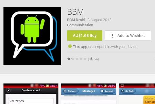 Another Fake BBM Android App Spotted On Google Play | Ubergizmo
