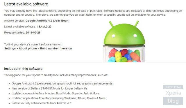 Sony Xperia M Gets Android 4.3 Jelly Bean Update