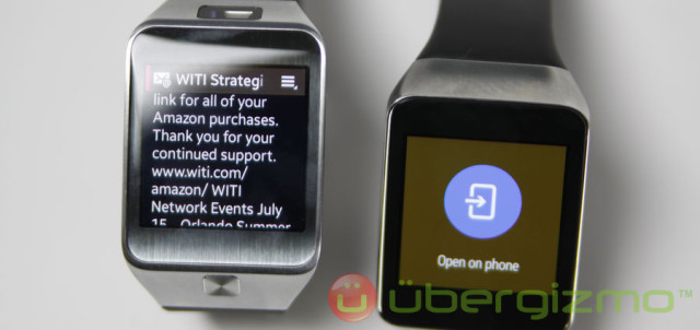 LEFT: email content can be read on the Gear 2  RIGHT: on Gear Live you have to open it to read it on the phone