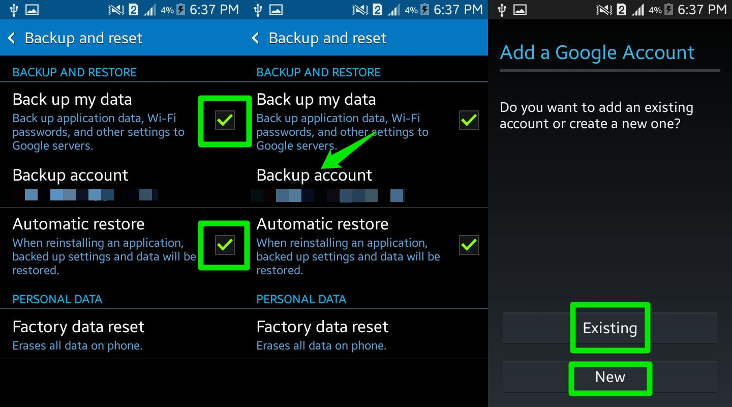 google account android backup