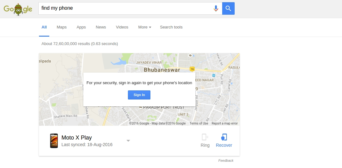 locate my phone using android device manager