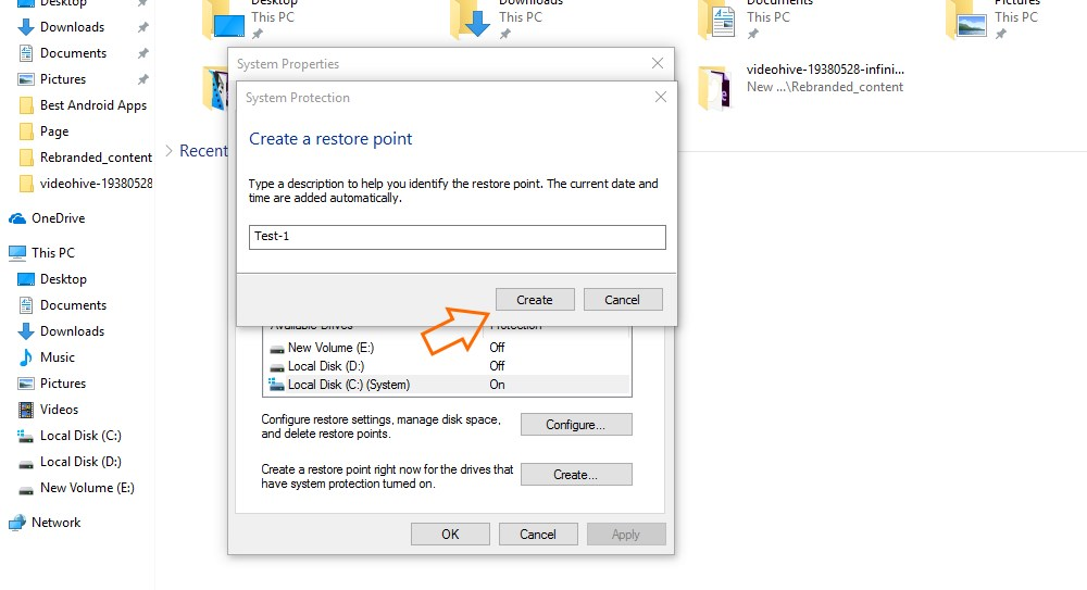how to create a restore point