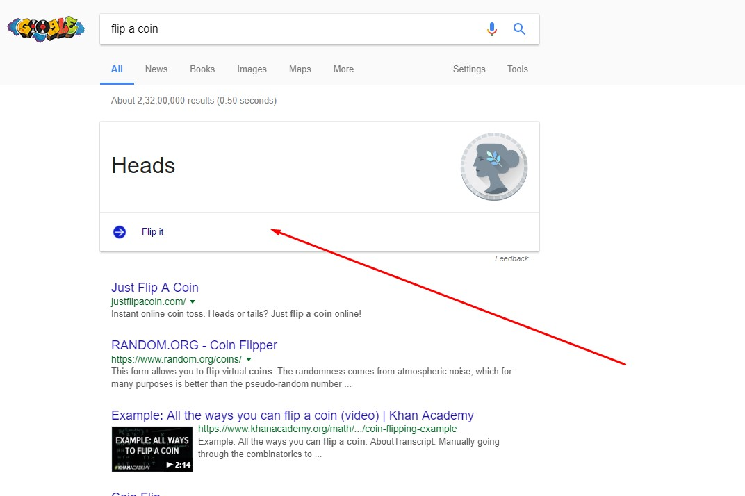 how to search on google - flip a coin