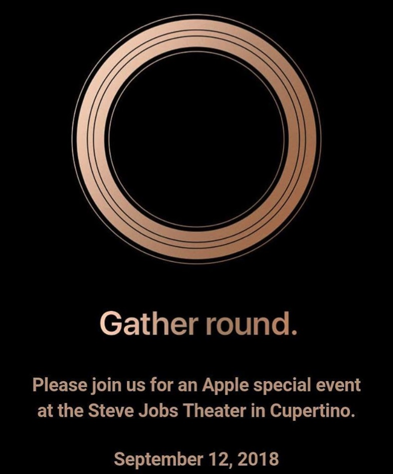 apple confirms 2018 iphone event for september 12th. Black Bedroom Furniture Sets. Home Design Ideas