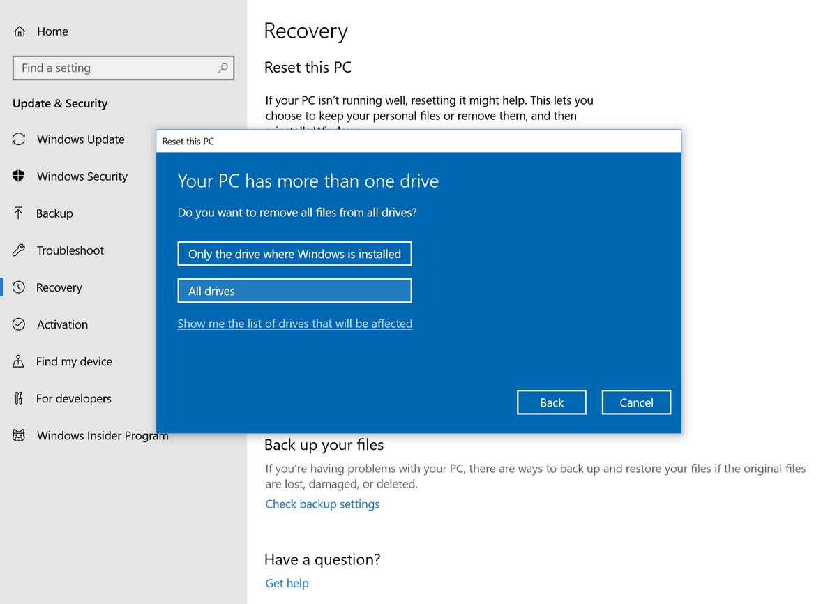 how can i factory reset windows 10